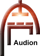 Audion Logo Bevelled Black with Hot Glow